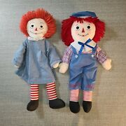 Vintage Raggedy Ann And Andy Dolls 26 Tall Original Hand Stitched Clothing