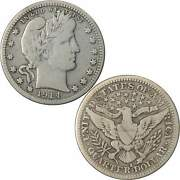 1914 S Barber Quarter F Fine 90 Silver 25c Us Type Coin Collectible