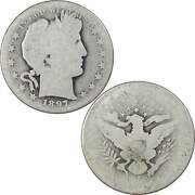 1897 S Barber Half Dollar Ag About Good 90 Silver 50c Us Type Coin Collectible