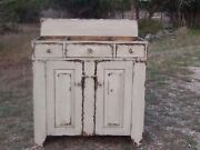 Primitive Washstand Bathroom Vanity Wash Stand Country Painted Dry Sink Cabinet