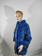 Real Mink Fur Blue Thick Coat - Handmade Warm And Comfortable Genuine Fur Long Xxl