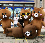 Christmas Inflatable Brown Bear Mascot Costume Cosplay Clothing Carnival Adults@