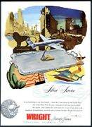 1946 Eastern Airlines Plane Art Wright Aircraft Engines Vintage Print Ad