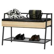 Entryway Bed End Stool Shoe Bench Storage Box W/mesh Shelves Room Seat Cushion