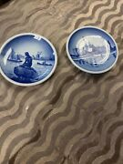 Set 2 Antique Japanese Hand Painted Blue And White Procelain Dishes