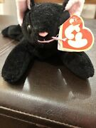 Rare Never Seen Hard To Find 1993 Beanie Baby Zip Black W Pink Ears Whiskers