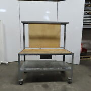 30dx60wx37h Butcherblock Wood/steel Top Work Bench Table W/drawer And Casters