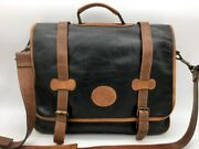 Eddie Bauer Leather Messenger Bag Flap Front Top Handle Black And Tan With Strap