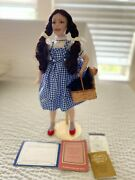 Franklin Mint Heirloom Porcelain Doll Wizard Of Oz Dorothy W/ Stand And Toto
