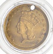 1857-c Indian Princess Head Gold Dollar - Holed 2219