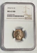 Small Cents Lincoln Wheat Ears Reverse 1912 S Ngc Ms-63 Rb