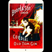 Vintage Cat Metal Sign 8x12 Cordial Old Tom Gin Black White Cat Chair Bottle Art