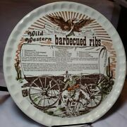 Vtg Wild Western Barbecued Ribs Recipe Decorative Platter Best Ribs In The West