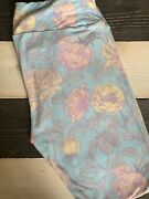 New Lularoe Tall And Curvy Tc Leggings Pastel Yellow Blue Pink Flowers Roses