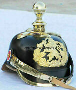 Fr Officer Helmet Imperial German Spiked Black Leather And Brass Pickelhaube