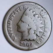 1869 Rpd Indian Head Small Cent Choice G Free Shipping E120 Ret