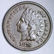 1876 Indian Head Small Cent Choice Au+ Free Shipping E131 Xmm
