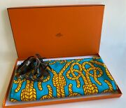 Hermes Pareo Wrap Shawl Stole Cotton 100 Turquoise And Gold Large 68 X 58 In