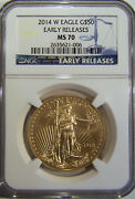 2014 W 50 Burnished Gold Eagle Ngc Ms70 Early Releases Low Mintage