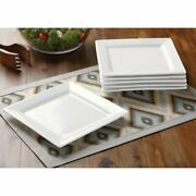 Square Salad Plates, White, Set Of 6 Bh13-036-499-28 Solid Print Microwave Safe