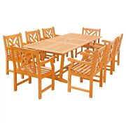 Eco-friendly 9-piece Wood Outdoor Dining Set With Rectangular Extension Tabl...