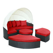 Modway Quest Wicker Rattan Outdoor Patio Canopy Sectional Daybed In Espresso Red