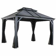 Sojag 10and039 X 12and039 Mykonos Double Roof Hardtop Gazebo Outdoor Sun Shelter 10and039 X...