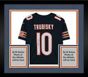 Framed Mitchell Trubisky Chicago Bears Signed Navy Nike Nfl 100 Limited Jersey