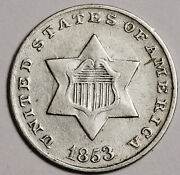 1853 Three Cent Silver. Xf. 158585