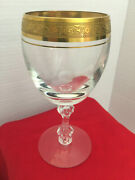 Westchester By Tiffin-franciscan Gold Encrusted Band Crystal Water Glass/goblet.