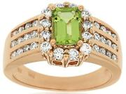 Estate 2.10ct Diamond And Aaa Peridot 14kt Rose Gold 3d Multi Row Engagement Ring