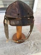 Antique Leather Football Helmet Molded Crown Head Harness Rawlings 167 4-strap