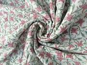 100 Cotton Fabric Hand Block Floral Print Fabric, Fabric By The Yard