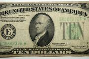 One 1934 A 10.00 Federal Reserve Star Note Grading Fine Stock E00682326