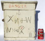 Folk Art Cupboard Made From A Wood Fuse Box With Danger And Other Carvings.