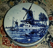 Delft Blue Holland Low Round Porcelain Covered Jar W. Windmill