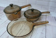 Lot Of 3 Corning Pyrex Vision Ware Amber Cookware Glass Pots And Pans