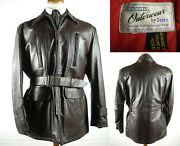 Vintage Sears Hercules Front Quater Horsehide Leather Car Coat Jacket Fits 42