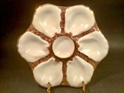 Antique Majolica Oyster Plate 6 Oyster Wells On Brown Seaweed