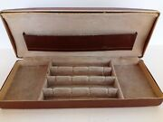Vintage Shields Brown Leather Mid Century Jewelry Box Embossed Gold