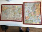 Vintage Wooden Jigsaw Puzzles - 2 Tray Puzzles With Rand Mcnally Maps Pre Ww Ii