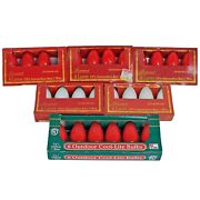 Lot/26 Vntg Christmas Lights C9-1/4 Replacement Bulbs Red White Candy Cane Now