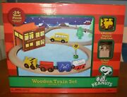 Rare Toys R Us Exclusive Retired Peanuts Wood / Wooden Train Set Snoopy