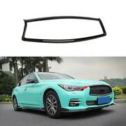 Gloss Black Front Center Mesh Grille Grill Cover For Infiniti Q50 Q60 2014-2017