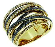 Large 1.73ct White And Black Diamond 14kt Yellow Gold Multi Row Criss Cross Ring
