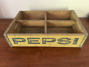 Pepsi Yellow Wooden Crate 4 Sections Richmond Virginia Miller Mfg 2-1970 Vintage
