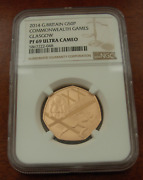 Great Britain 2014 Gold 50 Pence Ngc Pf69uc Commonwealth Games Mintage 385