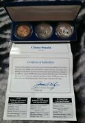 1993 China Panda 3 Coin Set 5and10 Yuan 1 Ounce Silver Coins 1- Red Copper Coa