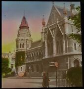 Tinted Glass Magic Lantern Slide Plymouth Town Hall Dated 1919 Photo