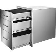 Usa Bbq Island-outdoor Kitchen All 201stainless Steel 3-drawer Set 3dr